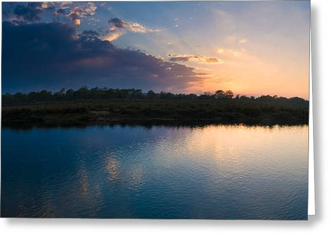Sunset Over A Lake, Chitwan National Greeting Card by Panoramic Images