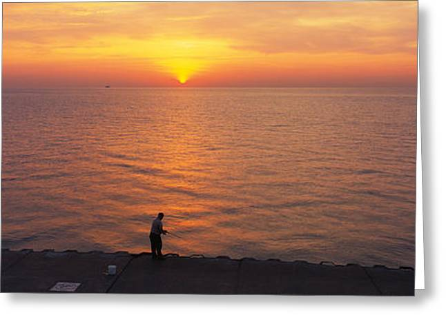 Nature Scene Greeting Cards - Sunset Over A Lake, Lake Michigan Greeting Card by Panoramic Images