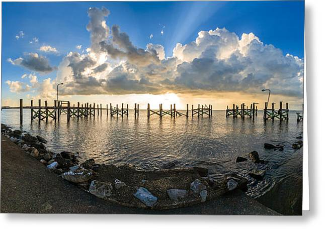 Louisiana Greeting Cards - Sunset Over A Lake, Lake Pontchartrain Greeting Card by Panoramic Images