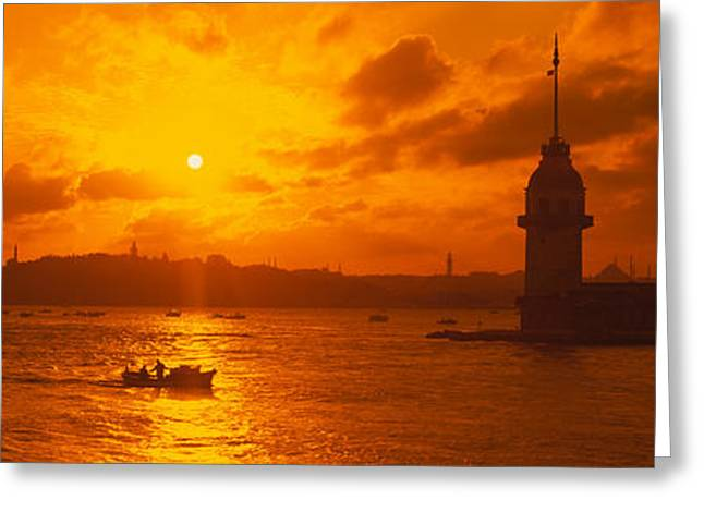 Sunset Over A River, Bosphorus Greeting Card by Panoramic Images