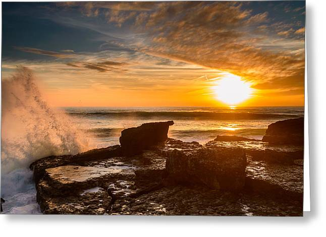 Storm Clouds; Sunset; Twilight; Water Greeting Cards - Sunset Over A Rough Sea I Greeting Card by Marco Oliveira