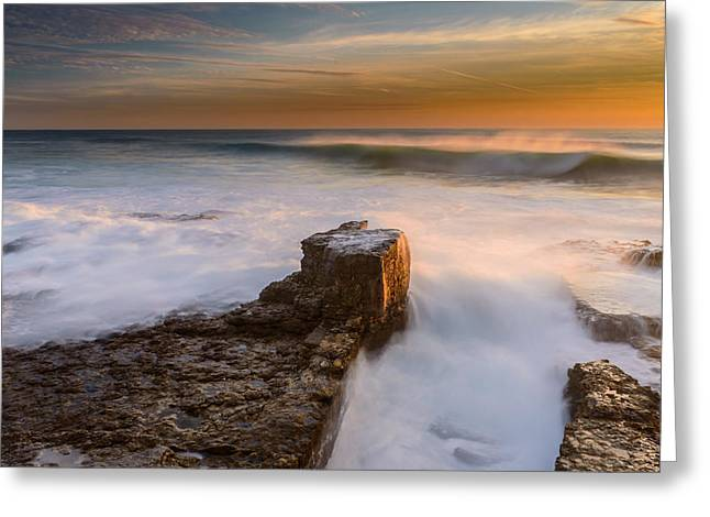 Storm Clouds; Sunset; Twilight; Water Greeting Cards - Sunset Over A Rough Sea II Greeting Card by Marco Oliveira