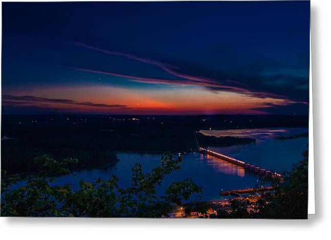 Deep River County Park Greeting Cards - Sunset over Alma Greeting Card by Tom Gort