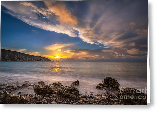 By Myself Greeting Cards - Sunset Over Alum Bay Greeting Card by English Landscapes