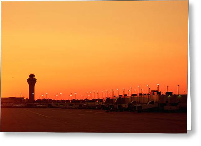 International Airports Greeting Cards - Sunset Over An Airport, Ohare Greeting Card by Panoramic Images