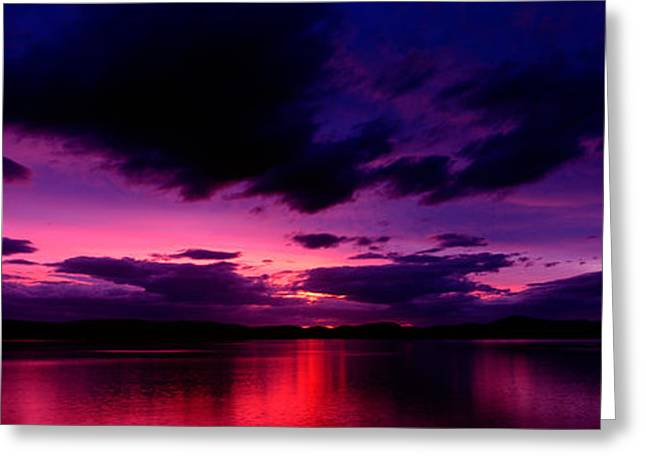 Inner Reflections Greeting Cards - Sunset Over An Island Viewed Greeting Card by Panoramic Images
