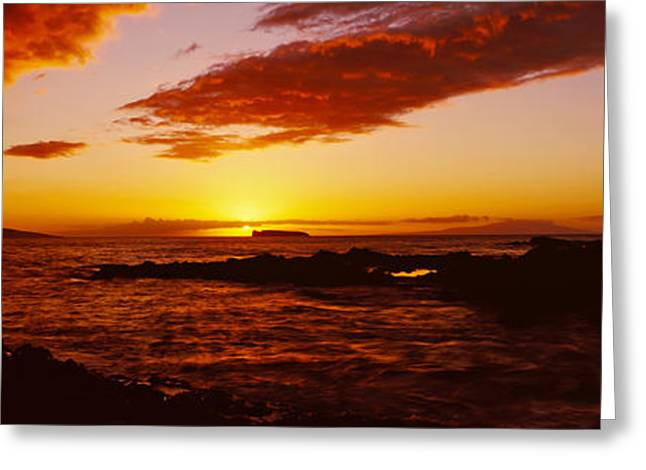 Sunset Over An Ocean, Oahu, Hawaii, Usa Greeting Card by Panoramic Images