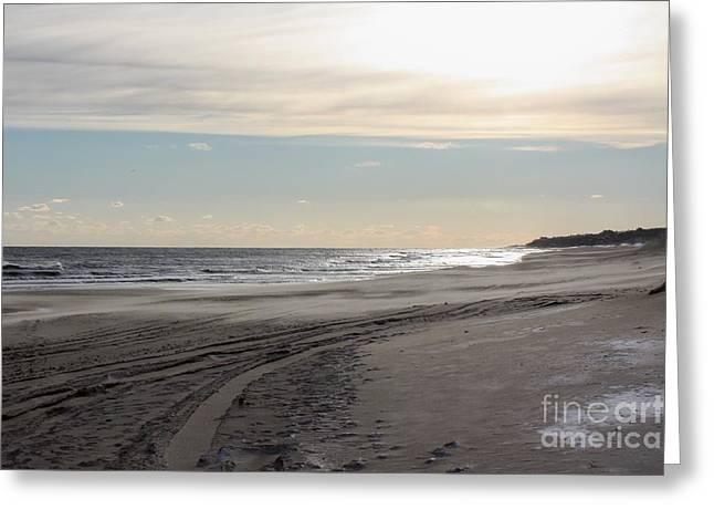 Sunset over Atlantic Ocean in Montauk Greeting Card by JOHN TELFER