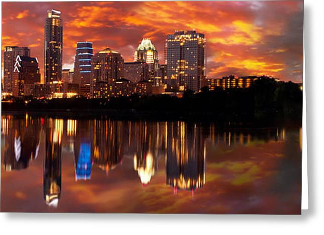 Recently Sold -  - Randy Greeting Cards - Sunset Over Austin Panoramic Greeting Card by Randy Smith