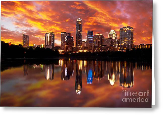 Austin Downtown Greeting Cards - Sunset Over Austin Greeting Card by Randy Smith