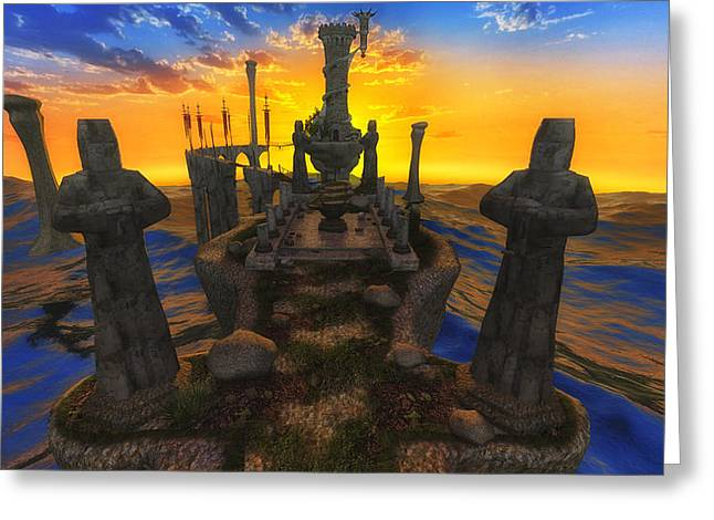 Legends Field Digital Art Greeting Cards - Sunset Over Avalon Greeting Card by Todd and candice Dailey