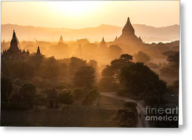 Historical Images Greeting Cards - Sunset over Bagan - Myanmar Greeting Card by Matteo Colombo