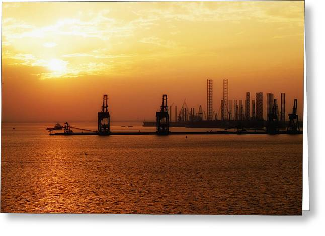 Bahrain Greeting Cards - Sunset over Bahrain Construction Greeting Card by Mountain Dreams