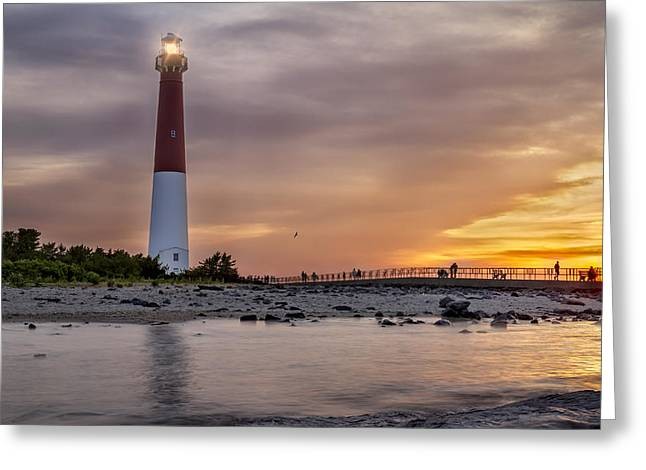 Beaming Greeting Cards - Sunset over Barnegat Lighthouse Greeting Card by Eduard Moldoveanu