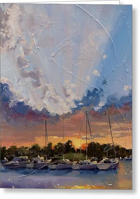 Sun Rays Paintings Greeting Cards - Sunset Over Bay Point Greeting Card by Laura Lee Zanghetti