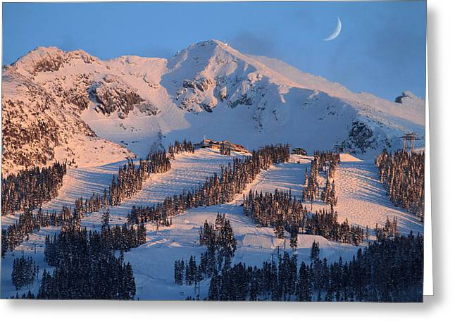 Winter Olympics Greeting Cards - Sunset over Blackcomb mountain Greeting Card by Pierre Leclerc Photography