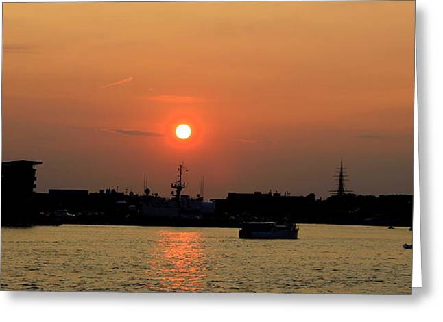 Boston Ma Greeting Cards - Sunset  Over Boaston and Charlestown Greeting Card by Leonard Malvone