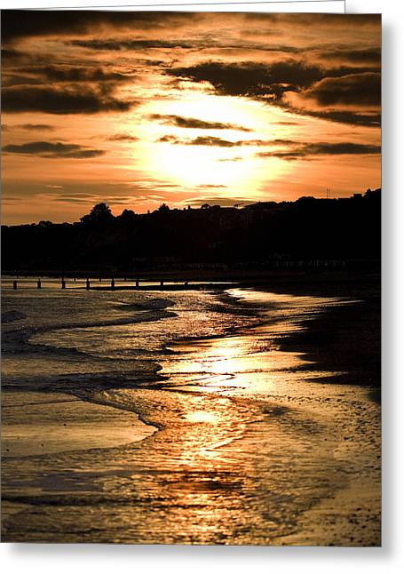 Duo Tone Greeting Cards - Sunset Over Bournemouth Beach Greeting Card by Wayne Humphrey