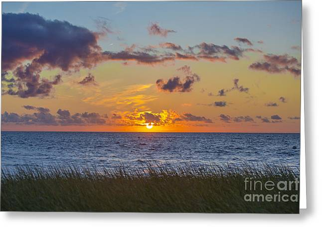 Cape Cod Bay Greeting Cards - Sunset Over Cape Cod Bay Greeting Card by Diane Diederich