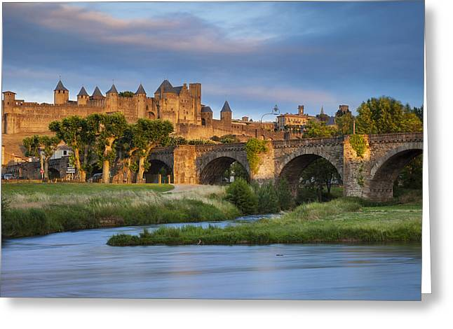Carcassonne Greeting Cards - Sunset over Carcassonne Greeting Card by Brian Jannsen