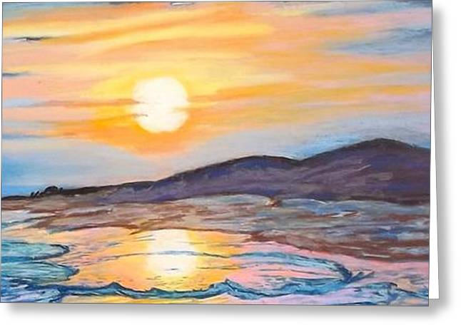 North Shore Pastels Greeting Cards - Sunset Over Coastal Dunes Greeting Card by Frank Giordano