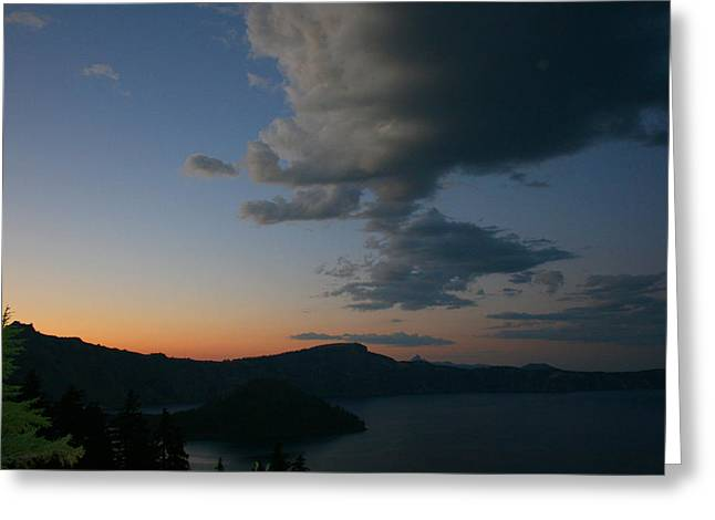 Crater Lake Sunset Greeting Cards - Sunset over Crater Lake Greeting Card by Calley Duvall