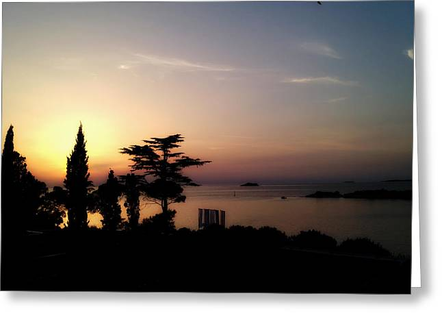 Ocean. Reflection Greeting Cards - Sunset over Croatia Greeting Card by Mountain Dreams