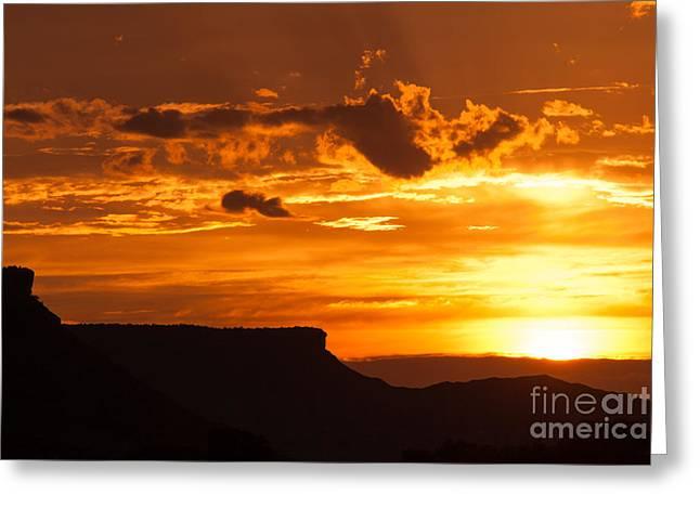 Geobob Greeting Cards - Sunset over Desert Landscapes near Rockville Utah Greeting Card by Robert Ford