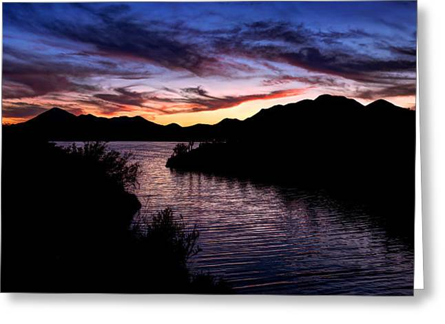 Desert Lake Greeting Cards - Sunset over Desert Waters Greeting Card by Anthony Citro