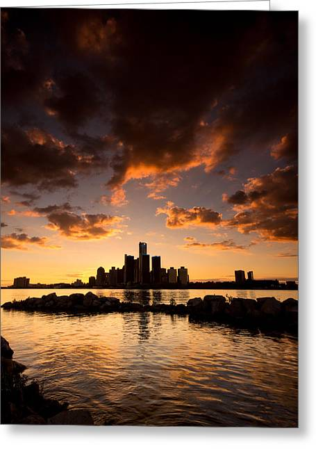 Ontario Greeting Cards - Sunset over Detroit Greeting Card by Cale Best