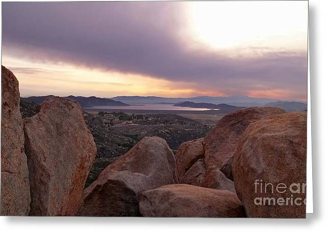 Haze Greeting Cards - Sunset Over Diamond Valley Lake Greeting Card by Glenn McCarthy Art and Photography