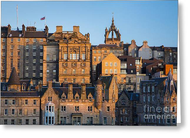 Historic Home Greeting Cards - Sunset over Edinburgh Greeting Card by Brian Jannsen