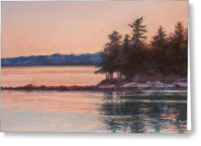 Maine Landscape Pastels Greeting Cards - Sunset over Emerald Point Lake Sebago Maine    Greeting Card by Denise Horne-Kaplan