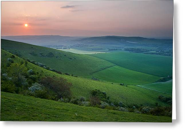 Haze Greeting Cards - Sunset over English countryside escarpment landscape Greeting Card by Matthew Gibson