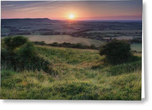 Field. Cloud Greeting Cards - Sunset over English countryside landscape digital painting Greeting Card by Matthew Gibson