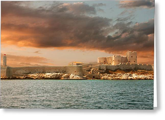 Chateau Greeting Cards - Sunset over famous If castle in Marseille Greeting Card by Gurgen Bakhshetsyan