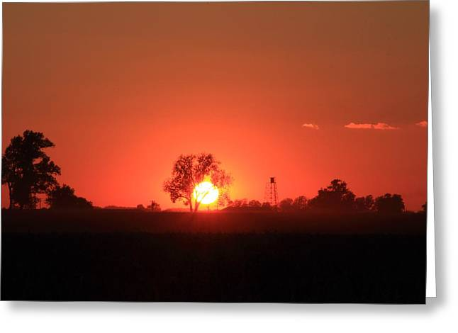 Southern Indiana Autumn Photographs Greeting Cards - Sunset Over Farmland Greeting Card by Andrea Kappler
