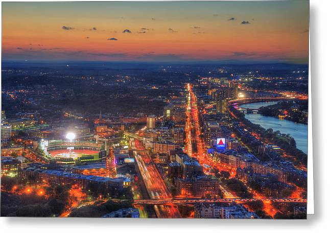 Boston Nights Greeting Cards - Sunset Over Fenway Park and the CITGO Sign Greeting Card by Joann Vitali