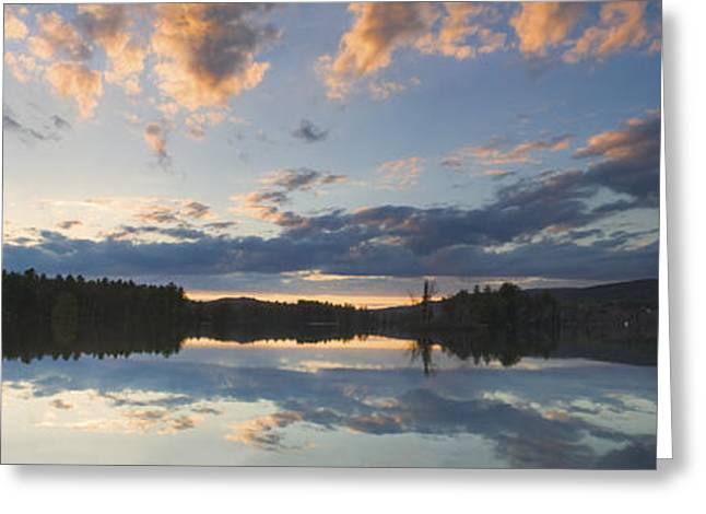 Trees Reflecting In Water Greeting Cards - Sunset Over Flying Pond in Vienna Maine Greeting Card by Keith Webber Jr
