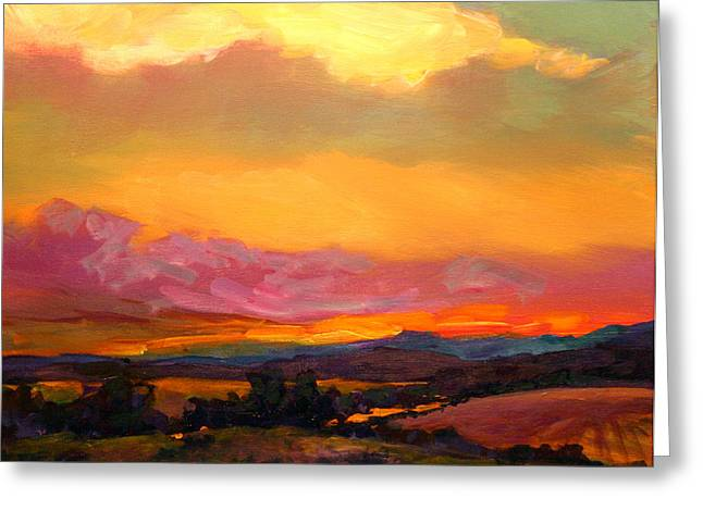 Savlen Greeting Cards - Sunset Over Green Mountains Greeting Card by Mike Savlen
