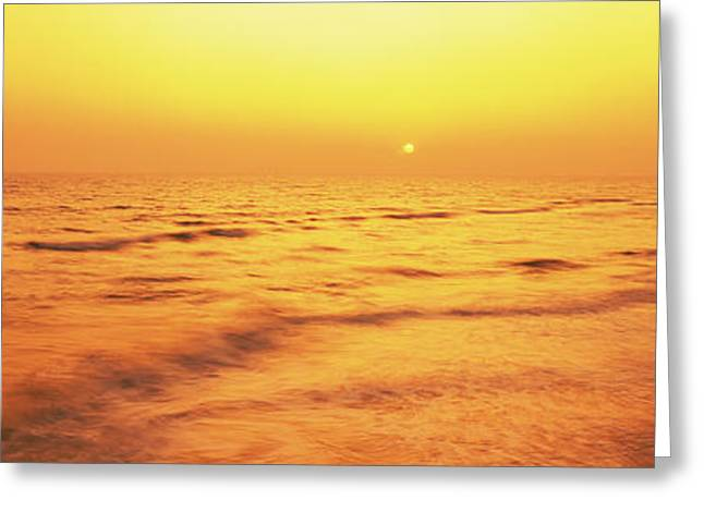 Panama City Beach Greeting Cards - Sunset Over Gulf Of Mexico, Panama City Greeting Card by Panoramic Images