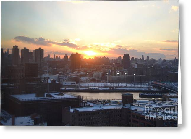 Sunset Over Harlem Greeting Card by Robert Daniels