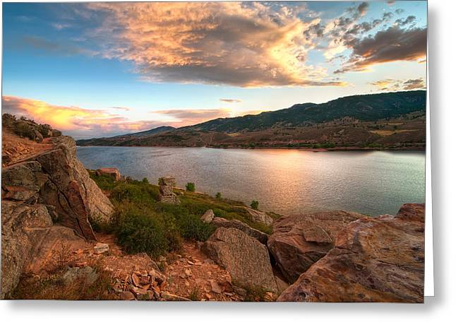 Ft Collins Greeting Cards - Sunset over Horsetooth Greeting Card by Preston Broadfoot