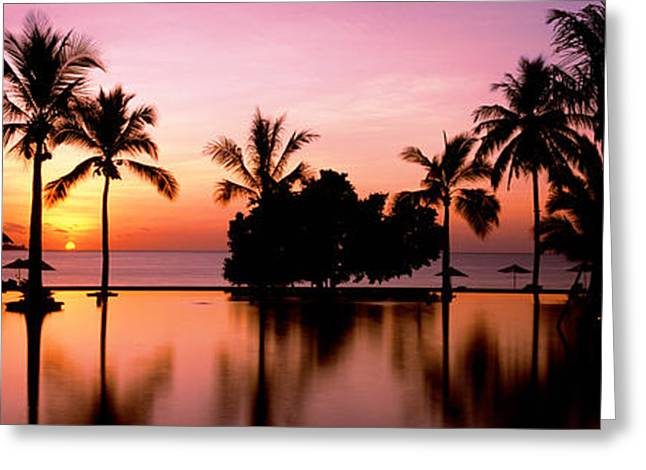 Tree Reflections In Water Greeting Cards - Sunset Over Hotel Pool, Lombok, West Greeting Card by Panoramic Images