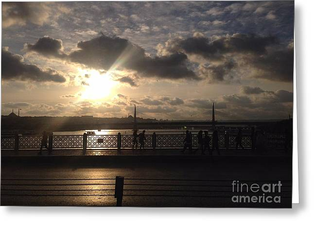 Reflection Of Sun In Clouds Greeting Cards - Sunset Over Istanbul Turkey Greeting Card by John Telfer