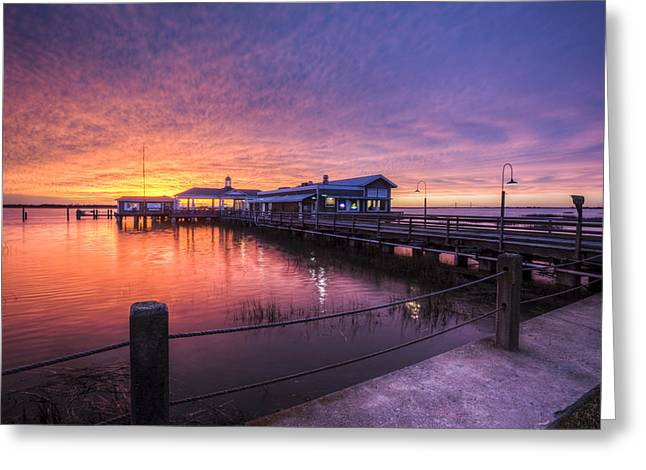 Happy Hour Greeting Cards - Sunset Over Jekyll Island Greeting Card by Debra and Dave Vanderlaan