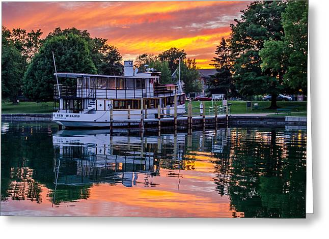 Skaneateles Greeting Cards - Sunset over Judge Ben Wiles Greeting Card by Robert Green