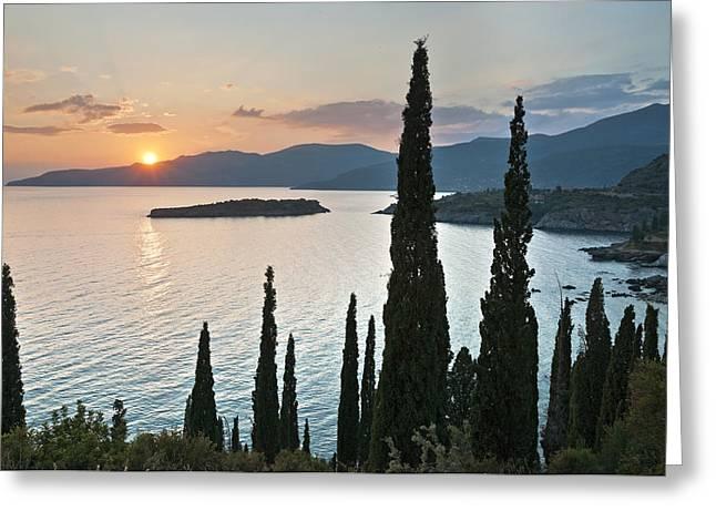 Messenia Greeting Cards - Sunset over Kalamitsi Bay near Kardamyli in Greece. Greeting Card by Peter Eastland