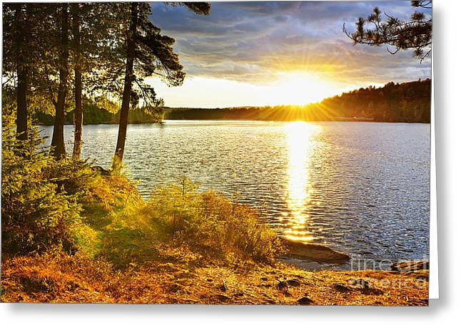 Sunset Over Lake Greeting Card by Elena Elisseeva