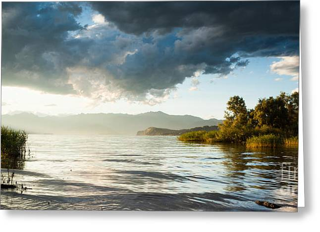 Italian Lake Greeting Cards - Sunset over Lake Maggiore in Italy Greeting Card by Matteo Colombo